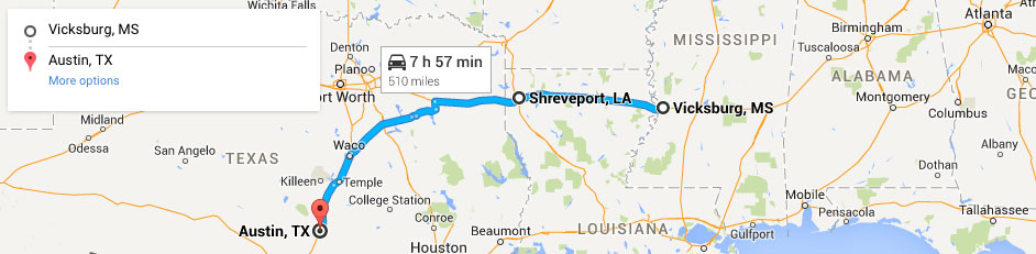 Vicksburg to Shreveport to Austin
